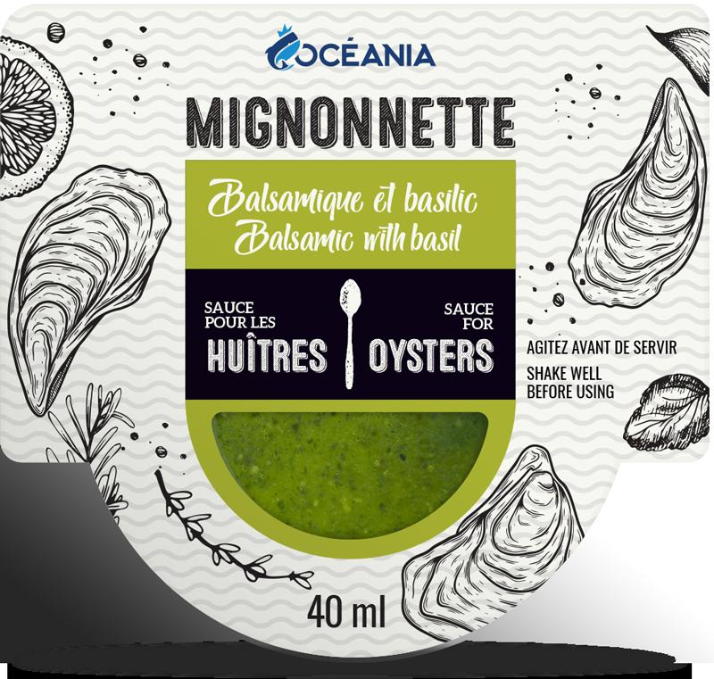 Mignonnette - sauces aux huitres Balsmique et Basilique